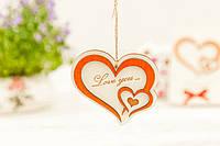 Подвеска из дерева Два сердца