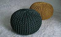 Пуф декоративный бескаркасный вязаный цвет хаки
