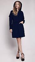 Необычное женское пальто из кашемира оригинального кроя с капюшоном шоколад, темно-синее, кемел