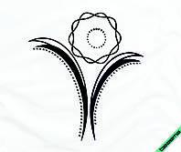 Аппликация, наклейка комбинированная на ткань Цветок (DMC 2мм-бел., мат. черн.)