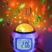 Музыкальные часы с будильником, проектор Звездное небо \ Music and Starry sky calendar