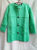 Пальто демисезонное подростковое для девочки 7-11 лет,бирюзовое, фото 1