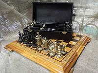 """Шахматы """"Запорожская Сечь"""".Набор шахмат (доска из дерева, фигурки бронзовые)"""