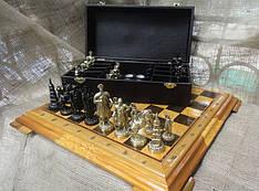 """Шахматы """"Запорожская Сечь"""". Набор шахмат (доска из дерева, фигурки бронзовые)"""