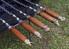Шампур с деревянной ручкой и бронзовыми навершиями (3мм, 70см, 1шт), фото 2
