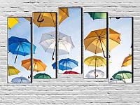 """Модульная картина """"Веселые зонтики"""" фотопечать на холсте"""