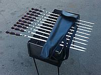 Набор шампуров с деревянной янтарной ручкой (3мм, 70см) 10шт. с чехлом кожзам