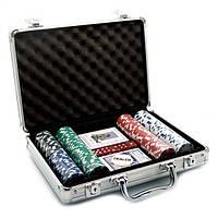 Покерный набор в алюминиевом кейсе (200 фишек, 2 кол. карт, 5 куб., р-р кейса: 30 х 21 х 6,5 см.)