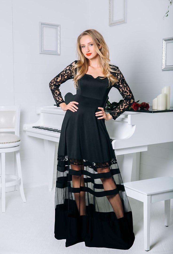 Платье - двойка с гипюром чёрное