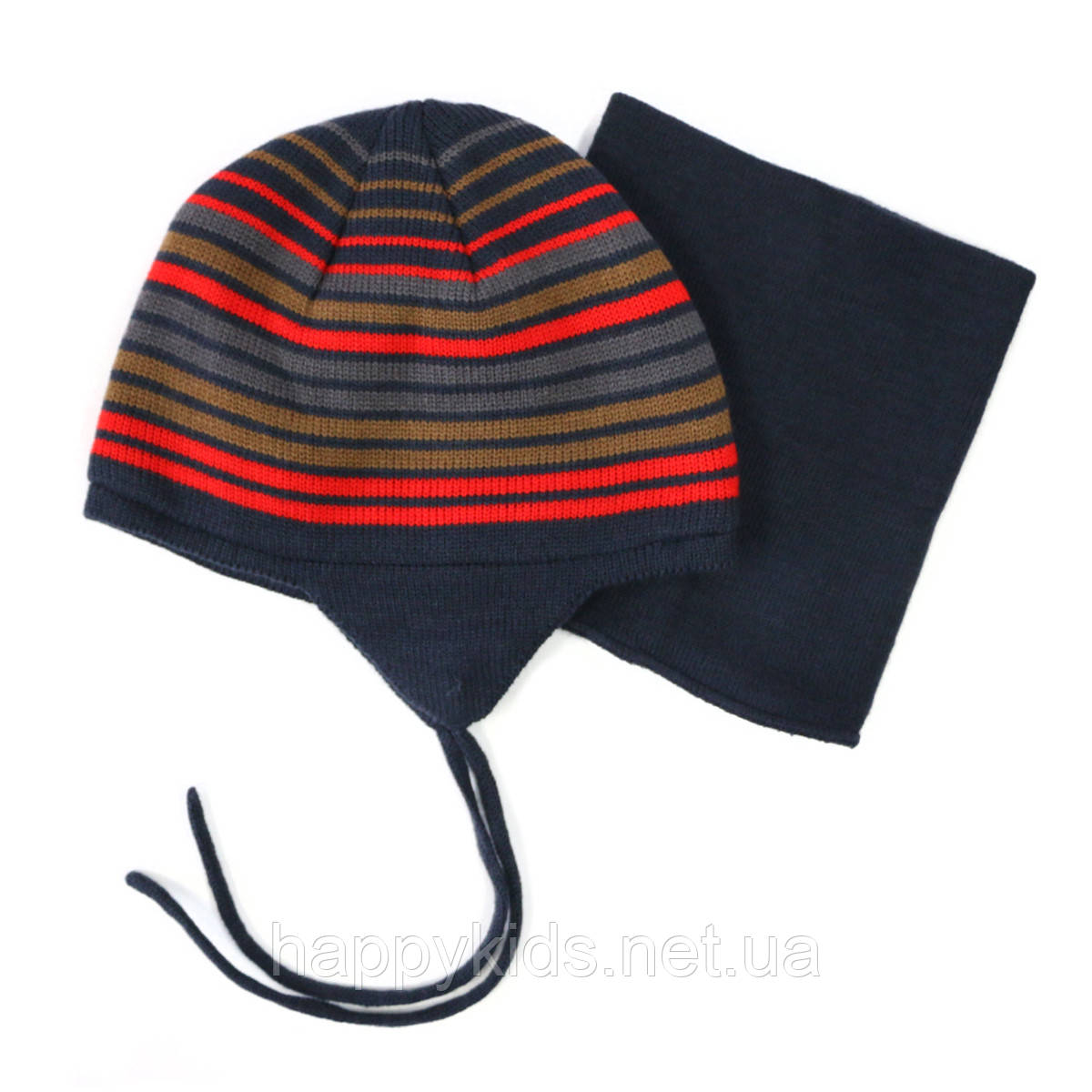 Зимняя шапка+манишка для мальчика PELUCHE 79 EG Spicy. Размер 3/5 и 6/8.