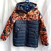 Куртка подростковая демисезонная для мальчиков 8-12 лет,темно синяя с оранжевым рисунком