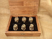 """Чарки из бронзы - набор """"Козацька рада"""" в деревянном кейсе, 6шт."""