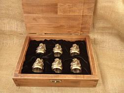 """Чарки из бронзы - набор """"Козацька рада"""" в деревянном кейсе, 6шт., фото 2"""