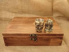 """Чарки из бронзы - набор """"Козацька рада"""" в деревянном кейсе, 6шт., фото 3"""