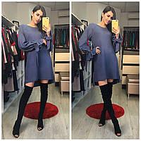 Платье (с декоративными рукавами) Ткань:ангора Цвета:молочный ,фиолетовый ,синий акор № 3868