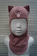 Шапка-шлем демисезонная на девочку мод.Кошка молочный шоколад