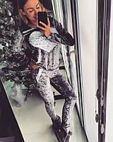 Спортивный костюм серый велюр 12181