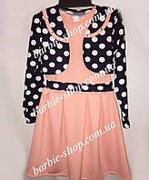Платье для девочки с болеро в горошек 91212
