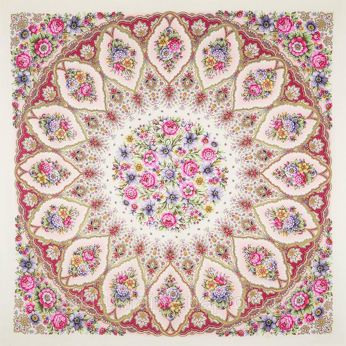 """Платок шерстяной с шелковой бахромой """"Снежинки и цветы"""", вид 3, 146x146 см"""
