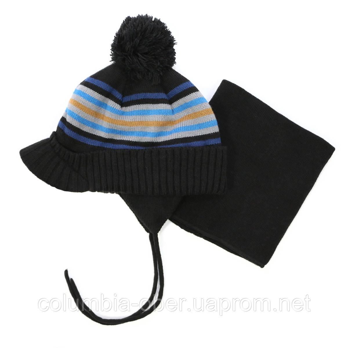 Зимняя шапка+манишка для мальчика PELUCHE 75 EG ACC F16 Black. Размер 3/5 и 6/8.