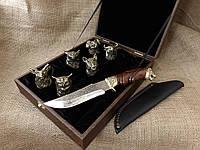 """Набор 6 чарок """"Охотничьи"""" с ножом"""