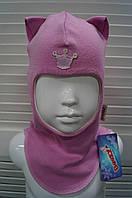 Шапка-шлем демисезонная на девочку мод.Кошка розовый