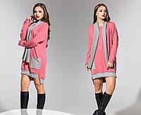 Платье батал ангора розовое
