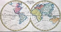 Карта мира 1750 год