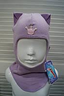 Шапка-шлем демисезонная на девочку мод.Кошка фиалка