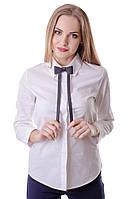 Классическая женская однотонная блузка на пуговицах с бабочкой, оптом и в розницу