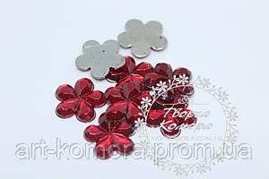 Цветок для декора красный большой, 16 мм, 10 шт. в наборе