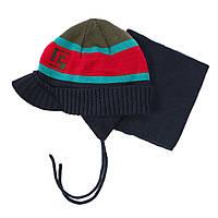 Зимняя шапка+манишка для мальчика PELUCHE 67 EG ACC F16 Olivine. Размер 3/5 и 6/8.
