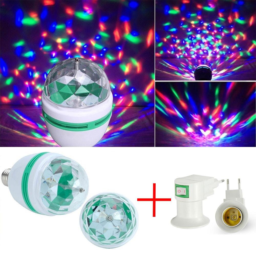LED диско лампочка E27 с переходником под розетку