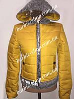 Стильная женская куртка с серыми вставками 10382
