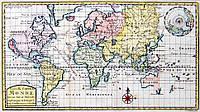 Старый и Новый Свет. Старинная карта. XVIII век