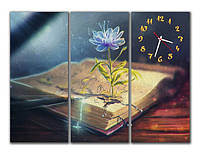 "Модульные картина-часы ""Раскрытая книга"" 3 модуля"