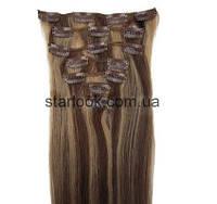 Набор натуральных волос на клипсах 38 см. Оттенок №4-27 мелированный. Масса: 100 грамм., фото 1