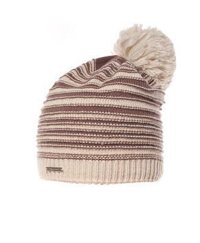 Красивая теплая вязаная женская шапка в полоску Pawonex., фото 3