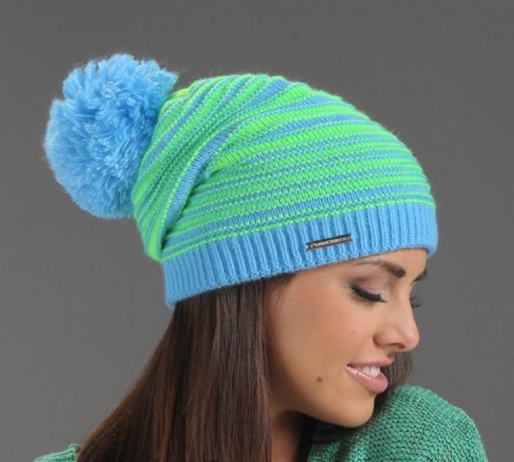 Красивая теплая вязаная женская шапка в полоску Pawonex.