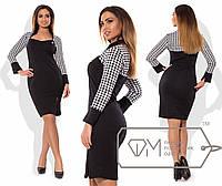 Платье женское чёрное с гусиной лапкой VV/-088
