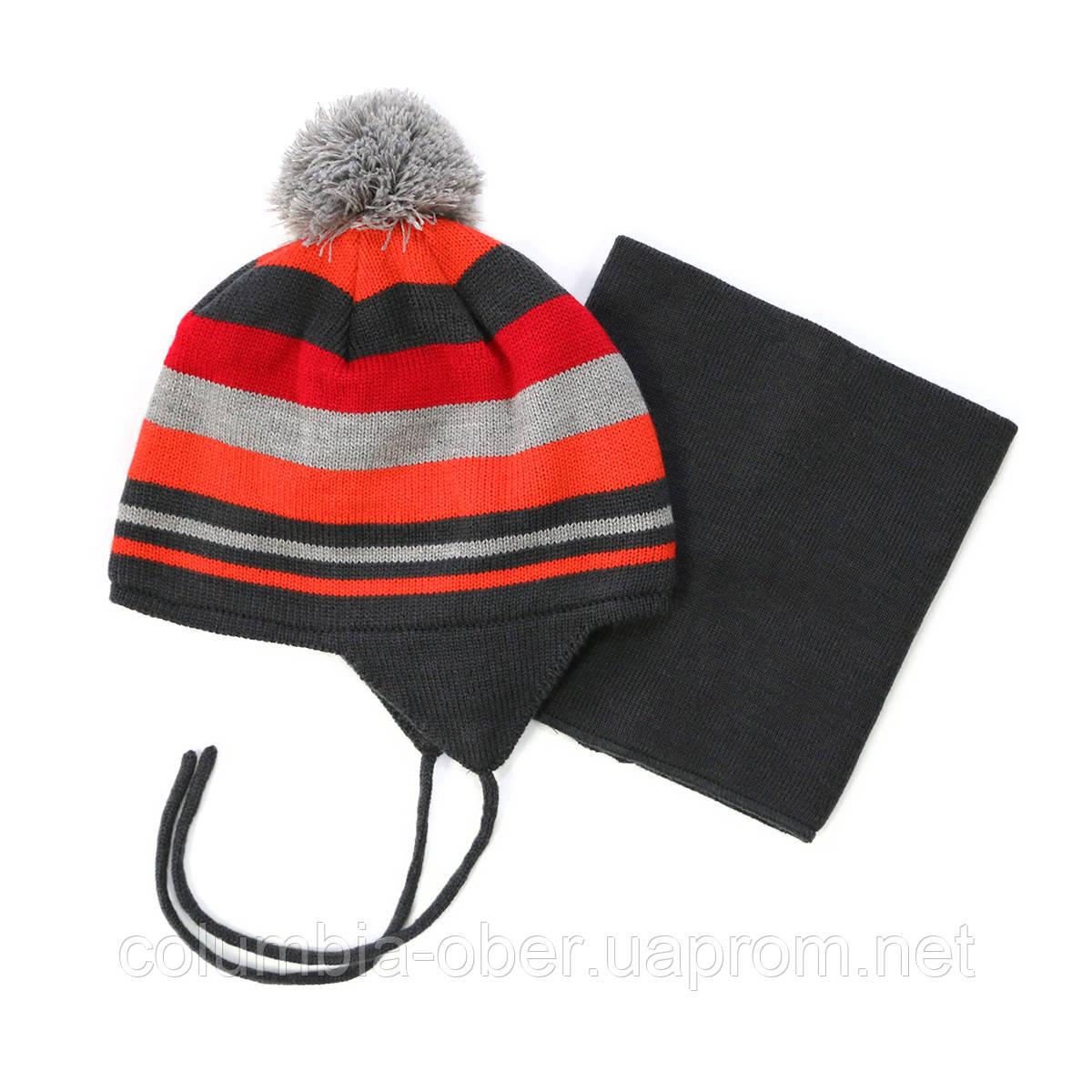 Зимняя шапка+манишка для мальчика PELUCHE 63 EG ACC F16 Kimono. Размер 3/5 и 6/8.