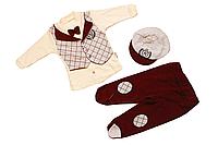 Комплект ясельный  (ползуны, кофточка, шапочка) 62 см Джентельмен бордо