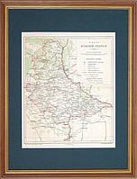 Старинная карта Киевской  губернии. XIX век.