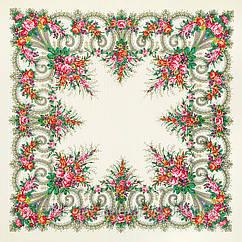 """Платок шерстяной с просновками и шелковой бахромой """"Лариса"""",  146x146 см"""