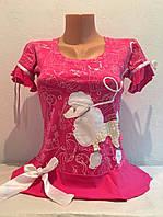 Футболка женская трикотажная короткий рукав розовая, фото 1