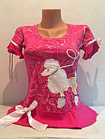 Футболка женская трикотажная короткий рукав розовая
