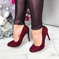 Женские туфли на каблуке 11 см, класика, эко замша / замшевые туфли женские 2017, марсала 40