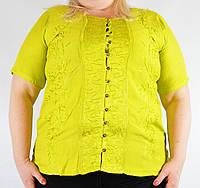 Блузка женская ярко-желтая, батал, на 54-58 р-ры