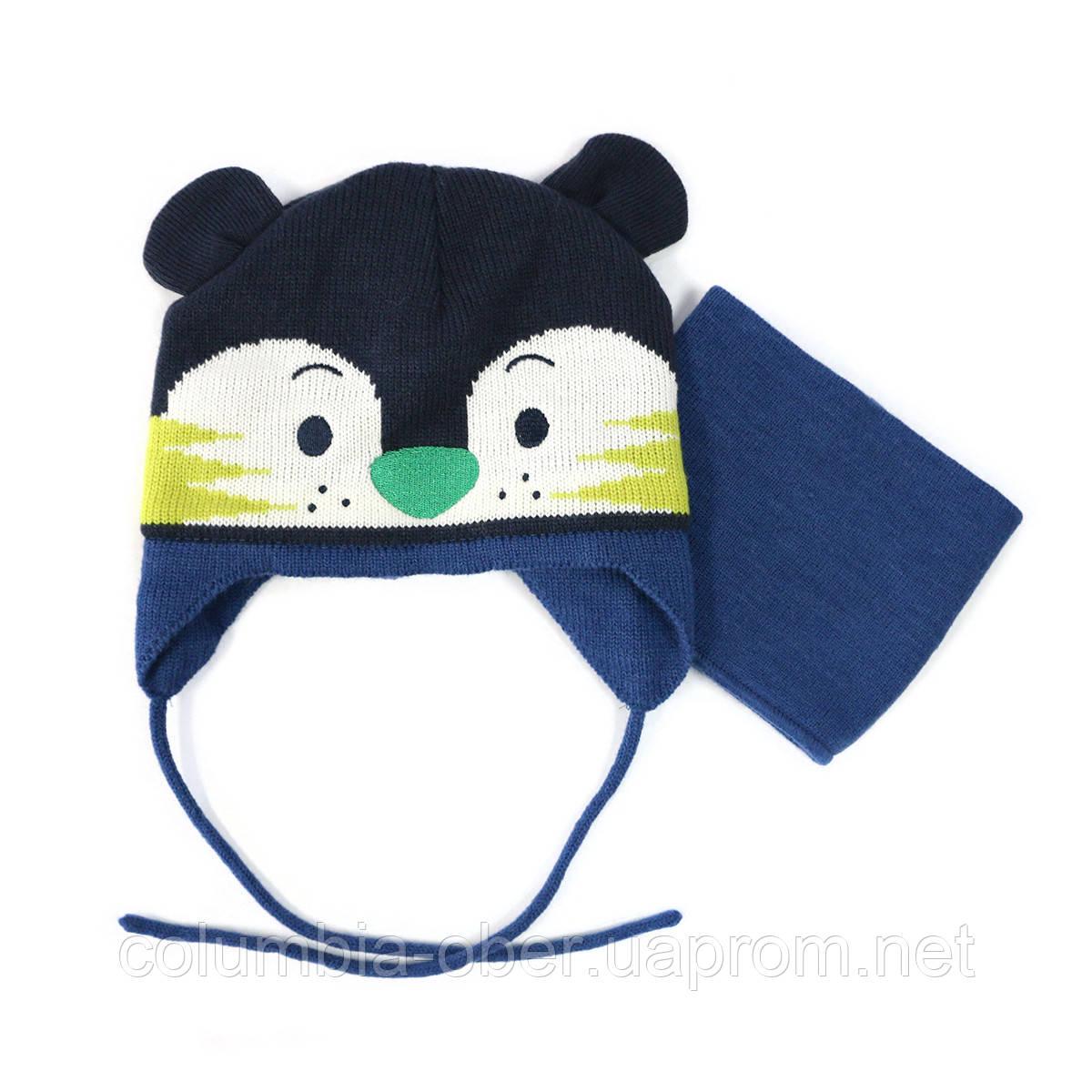 Зимняя шапка и манишка для мальчика PELUCHE11 BG ACC F16 Federal Blue. Размер 0/6 мес - 2/3.
