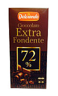 Горький классический шоколад Dolciando Extra Fondente 72% какао, 100 гр.